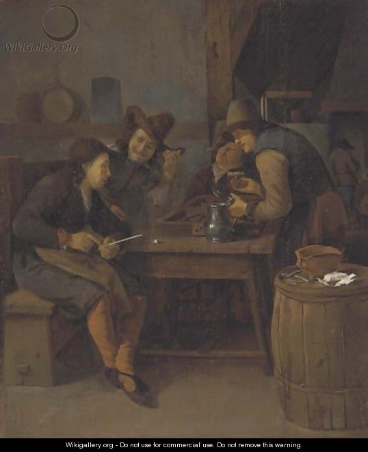 A tavern interior with men drinking, smoking and playing backgammon - (after) Cornelis Schaeck