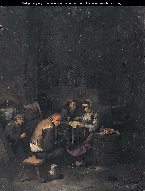 Peasants reading a letter in a tavern - (after) Cornelis (Pietersz.) Bega