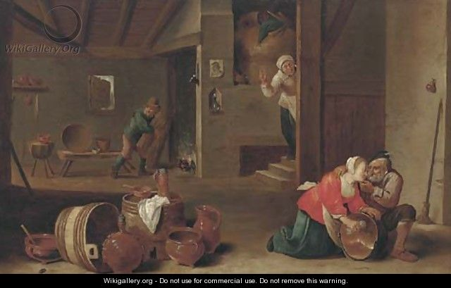 A kitchen interior with peasants - (after) Cornelis Mahu