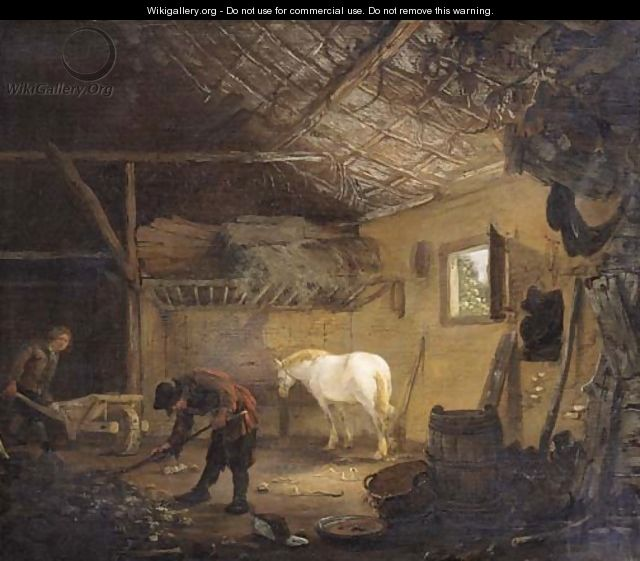 Grooms at work in a stable - (after) Cornelius Decker