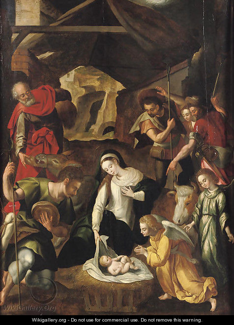 The Adoration of the Shepherds - (after) Cornelis De Baellieur I