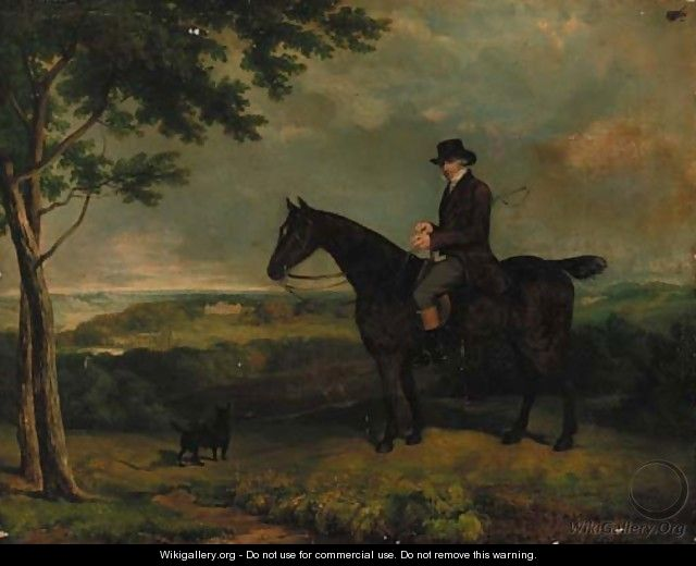 A gentleman on a hunter, with a terrier, Harewood House beyond - (after) Eddis, Eden Upton