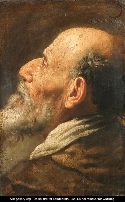 The head of a bearded man, a fragment - (after) Domenico Fetti