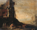 Travellers by classical ruins in an Italianate landscape - (after) Dirck Verhaert