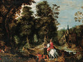 A wooded River Landscape with Sportsmen near a Castle - (after) David Vinckboons