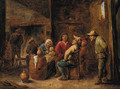Peasants singing and a mother with her child in an interior - (after) David The Younger Teniers