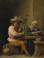 A bagpipe player with a lady reading a letter in an interior - (after) David The Younger Teniers