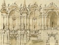 Design for an elaborate facade with three bays - (after) Ferdinando Galli Bibiena