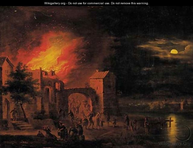 A town on fire at night - (after) Egbert Lievensz. Van Der Poel