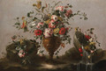 Parrot tulips, roses and other flowers in an urn, flowers in a bowl with water spilling out and a bunch of flowers on a rocky bank - (after) Francesco Guardi