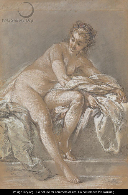 A seated female nude - (after) Francois Boucher