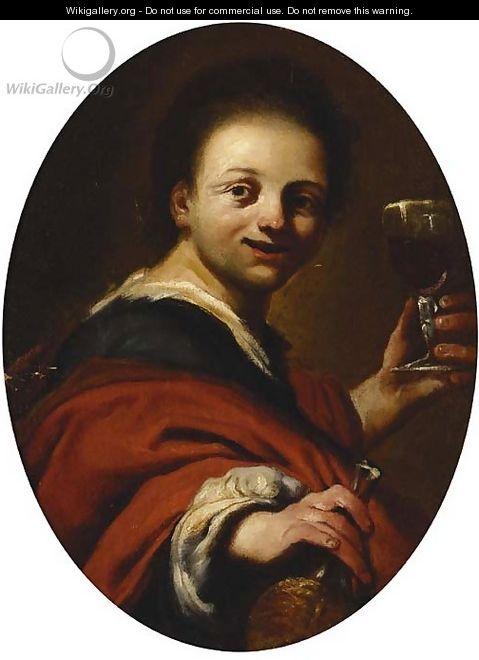A young man drinking Chianti - (after) Antonio Amorosi