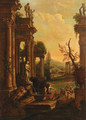 A classical landscape with soldiers and washerwomen resting by a fountain - (after) Pierre-Antoine Patel