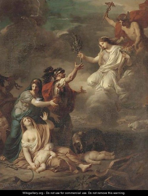Mercury delivering Peace to the victims of war - (after) Anicet-Charles-Gabriel Lemonnier