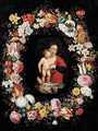 The Virgin and Child surrounded by a garland of flowers - (after) Andries Daniels Or Danielsz