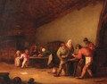 Boors playing at cards in a barn, children beyond - (after) Bartholomeus Molenaer