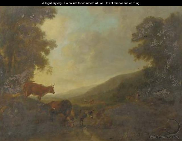 A landscape with shepherds and their cattle by a creek - (after) Balthazar Paul Ommeganck