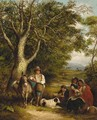Travellers resting on a wooded track - (after) Arthur J. Stark