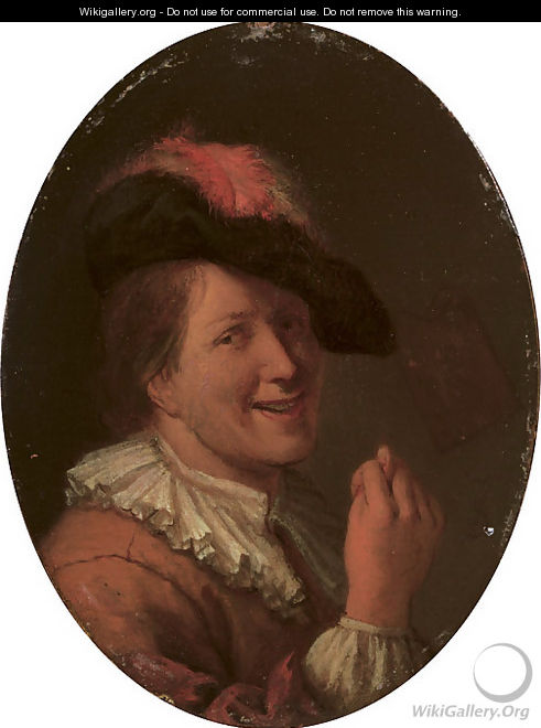 A man in a plumed hat making an obscene gesture - (after) Arie De Vois