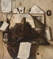 A trompe l'oeil of paintings, a drawing, an artist's palette, letters and a sheet of music - (after) Antonio Mara, Lo Scarpetta