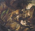 Hounds attacking two deer in a rocky river landscape - (after) Carl Borromaus Andreas Ruthart