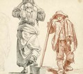 A peasant woman, seen from behind and a peasant boy - (after) Claude-Joseph Vernet