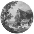 A landscape with a house near rocks - (after) Claude-Henri Watelet