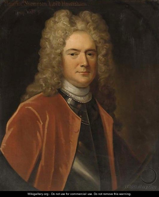 Portrait of Maurice Thompson, Lord Haversham, half-length, in a red coat and breastplate, feigned oval - (attr. to) Jervas, Charles