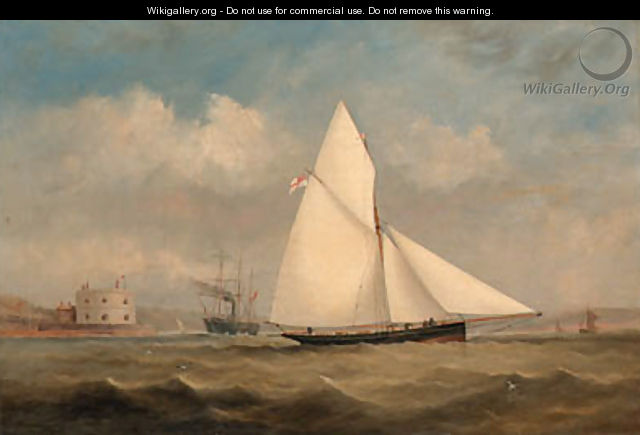Terpsichore, a racing cutter, and a large Paddle-Steamer off Hurst Castle, on the Solent - Arthur Wellington Fowles