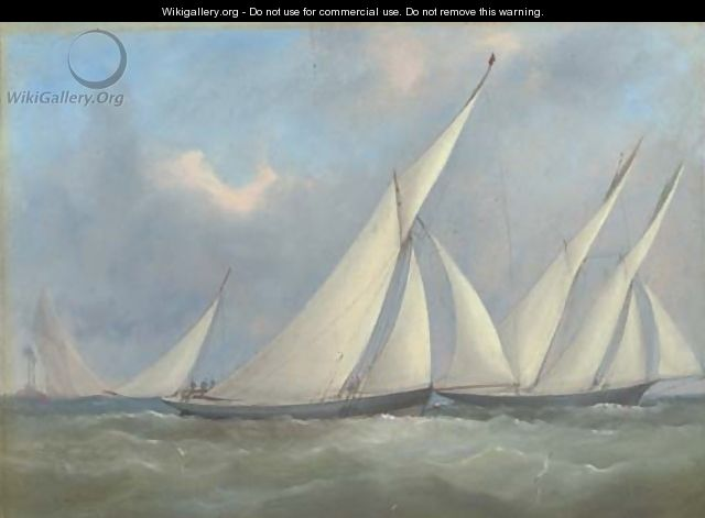 Florinda and Gwyndoline racing off the Nab lightship - Arthur Wellington Fowles