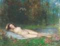 A nymph lying in a wooded river landscape - Arthur von Ferraris