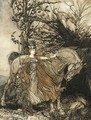 Brunhilde with her horse at the mouth of the cave - Arthur Rackham