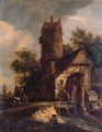 Travellers crossing a torrent by a fortified farmhouse near a dovecote - (after) Roelof Van Vries