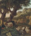 A wooded landscape with sheep and figures resting - (after) Abraham Jansz Begeyn
