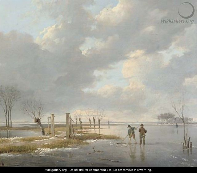 Fishermen cutting a hole in the ice - (after) Andreas Schelfhout