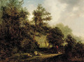 A forest scene with a shepherd, his dog and flock of sheep - (after) Alexander Nasmyth