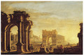 A capriccio of a Mediterranean port with figures amongst classical ruins - (after) Alessandro Salucci