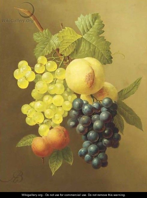 A swag of peaches, grapes and apricots - Arnoldus Bloemers
