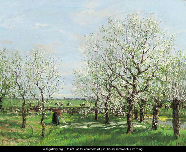 An orchard in spring - Arnold Marc Gorter