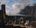 A mediterranean harbour with merchants unloading cargo and elegant travellers on a quay, at sunset - Arnold Frans Rubens