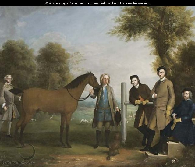 Group Portrait, Including Edward Chester (1712-1767), Owner Of Cockenhatch, His Brother, Peter (1720-1799), Governor Of Florida, A Groom And The Clerg - Arthur Devis