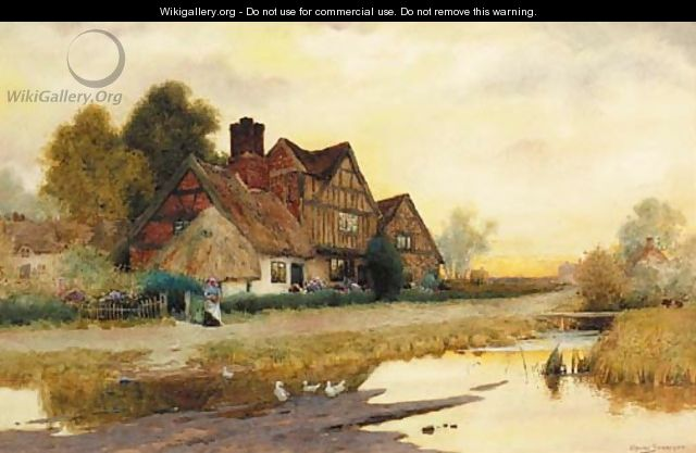 A Figure before a Cottage at Market Drayton, Shropshire - Arthur Claude Strachan