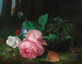Roses with convolvuli and a sprig of forget-me-nots on a mossy bank - Arthur Chaplin