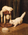 Two Persian cats with a clock on a table - Arthur Heyer