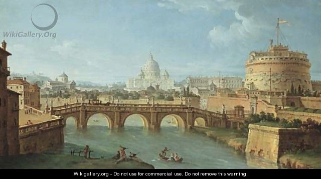The Tiber, Rome, looking downstream with the Castel and Ponte Sant