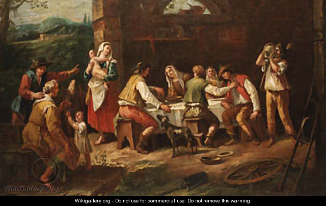 Peasants eating in a farmyard - Antonio Diziani
