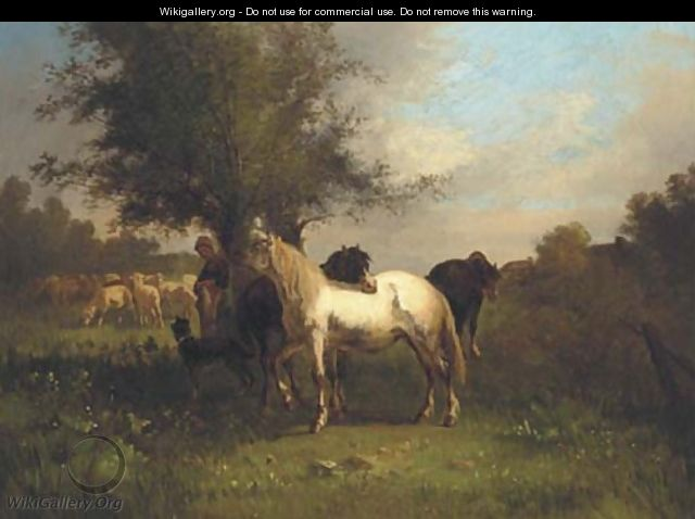 A farm girl with horses and sheep in a field - Antonio Cordero Cortes