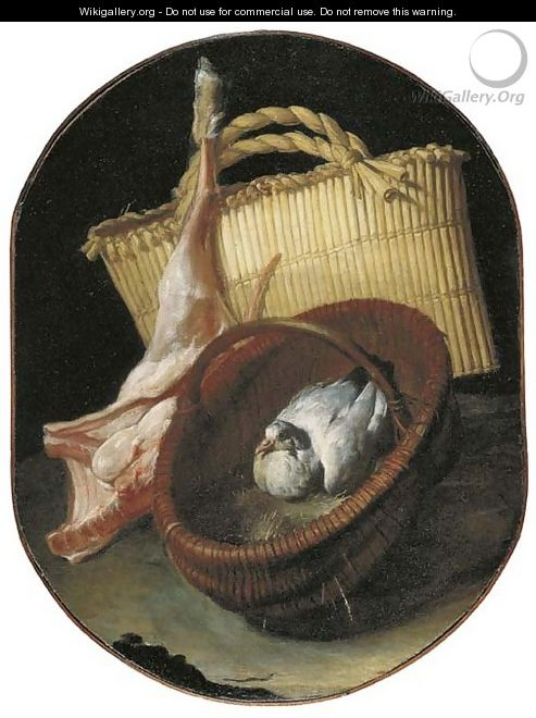 A still life with two baskets and a pigeon - Arcangelo Resani
