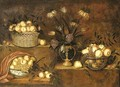 Peaches in a wicker basket, a vase of flowers and bowls with pears, grapes and pomegranates on stepped ledges - Antonio Ponce