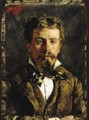 Portrait of a young gentleman, wearing a white shirt, cravatte and brown waistcoat and jacket - Antonio Mancini
